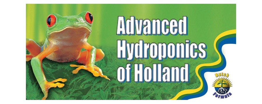 жаба на зелен фон с лого Advanced Hydroponics of Holland